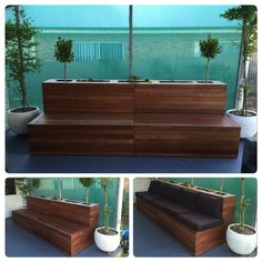 30 Exciting Outdoor Wooden Bench Seat Design Ideas With Planter Box - Page 6 of 31 Building Planter Boxes, Garden Planter Boxes, Patio Planters, Box Garden, Wooden Bench Seat, Corner Bench Seating, Planter Bench, Raised Planter, Cool House Designs