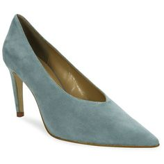Luxury Rebel Vanna Suede Banana Heel Pumps ($45) ❤ liked on Polyvore featuring shoes, pumps, blue bird, suede pointy toe pumps, luxury rebel shoes, suede slip on shoes, pointed toe pumps and blue pumps