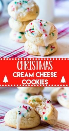 Christmas Cream Cheese Cookies are going to be your new favorite holiday cookie!… Christmas Cream Cheese Cookies are going to be your new favorite holiday cookie! They melt in your mouth and are so festive with their sprinkles. Holiday Desserts, Holiday Baking, Christmas Baking, Holiday Treats, Holiday Recipes, Christmas Treats, Diy Christmas, Christmas Cheese, Italian Christmas Cookies