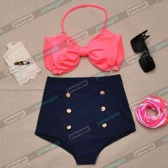 Vintage Retro Pin Up High Waisted Bikini Bow Swimsuit Coral Navy Blue S M L XL in Clothing, Shoes & Accessories   eBay