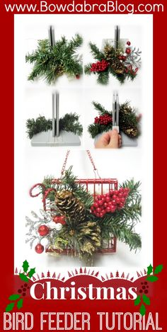 Christmas Bird Feeder Gift with Bowdabra Bow This craft diy tutorial is a great idea for a wreath