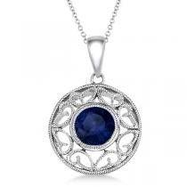 Antique Blue Sapphire Circle Pendant Necklace 14k White Gold (1.10ct)