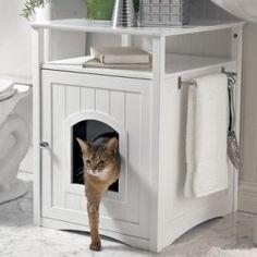 Kattenbak in een kast