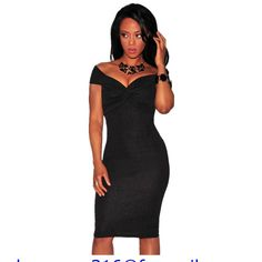 [US $21.48] - Hot Sexy Deep V-Neck Orange/Black Textured Knotted Off The Shoulder Padded Dress LC22385 Slash Neck Pencil Midi Dress For Women