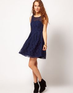 Dark Blue Bridesmaid Dress with Lace