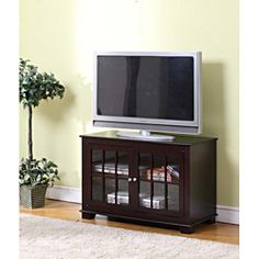K&B Dark Chocolate Finish TV Stand - Overstock™ Shopping - Great Deals on Entertainment Centers