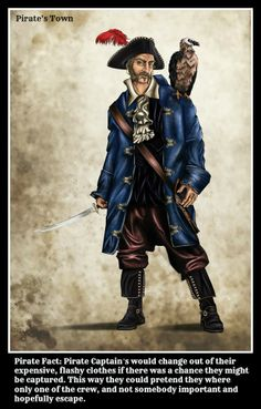 Pirate Fact - Pirate Captain's would change out of their expensive, flashy clothes if there was a chance they might be captured. This way they could pretend they where only one of the crew, and not somebody important and hopefully escape. #piratefacts