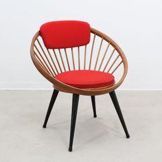 Vintage circle hoop chair by Yngve Ekstrom, 1960s