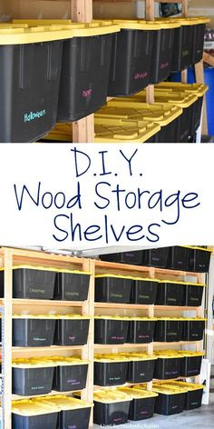 How to Make Wood Storage Shelves. My garage had very little storage and as a result, organizing it was very difficult. I researched how to maximize the storage space in a garage and decided to put in wood storage shelves that custom fit storage bins. Wood Storage Shelves, Garage Shelving, Garage Shelf, Attic Storage, Storage Spaces, Storage Ideas, Garage Storage Solutions, Storage Systems, Shelving Ideas