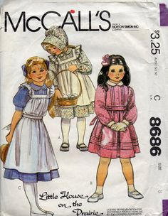 McCalls 8686 1980s Girls Dress Pinafore and Bonnet Vintage Sewing Pattern Little House on the Prairie Laura Ingalls by mbchills
