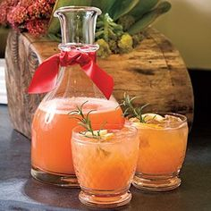 Rudolph's Tipsy Spritzer--orange juice, Sprite, vodka, maraschino cherry juice and fresh lemon juice--yummmm. Sounds refreshing and I am making this soon:)