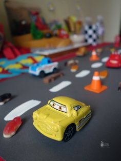 Candy bar. Paper decor. Cars style. 3d birthday for boy. Cartoon. McQueen. Road