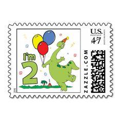 Dino 2nd Birthday Stamps