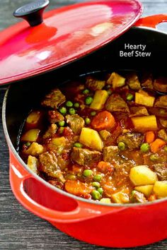 This deliciously Hearty Beef Stew with tender cubes of meat, potatoes, carrot, and green peas is comfort food for the soul. Perfect any time of the ye... - Roti n Rice - Google+