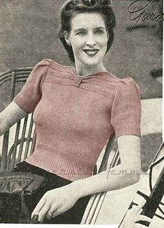 This lovely jumper/sweater pattern has a charming pleated yoke, gathered into a decorative buckle at the neck for interest.