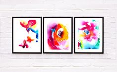 Set of 3 Hot Pink Flowers Butterfly Illustrations Art Prints