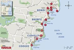 Sydney Walking Tour: Bondi Beach to Coogee Beach Pacific Trail -- National… Sydney Australia, Australia Travel, Bondi Beach Australia, Waverley Cemetery, Coogee Beach, Fiji Travel, Sydney Beaches, Walking Tour, Tours
