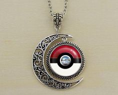 moon necklace pokemon pokeball necklace by lovelychristmasgift