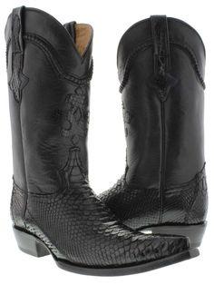 Men's genuine black python snake skin cowboy boots western exotic biker xxx toe #ElPresidenteBootCompany #CowboyWestern
