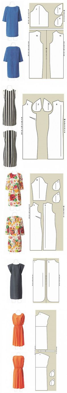 4 dresses for summer / Simple pattern /