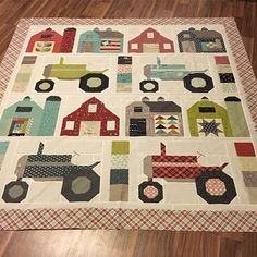 "kwilter100 - I designed the layout myself, but I used @beelori1 book Vintage Farm Girl patterns for the blocks. I had to resize the red barns with the white windows from 12"" to 14"" to be the same size as the other barns."