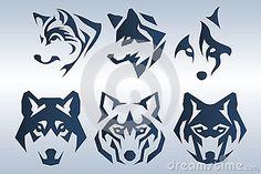 Illustration of dark blue wolf head logo on blue background Wolf Tattoo Design, Wolf Design, Stencil Lobo, Wolf Tattoos, Body Art Tattoos, King Tattoos, Lobo Tribal, Animal Logo, Blue Backgrounds