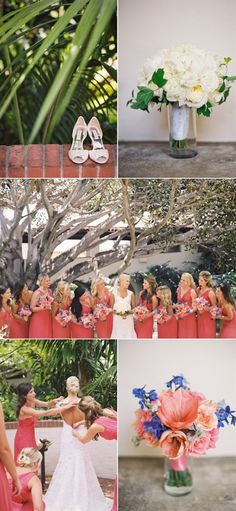 The shoes, the bridal bouquet and the bridesmaids