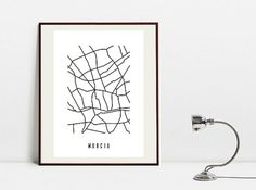 Murcia Abstract Map  Black and White Art Print  Digital by Postery