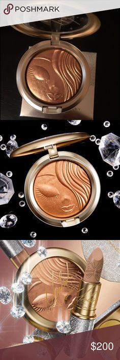 Mac Mariah Carey extra dimension skin finish This Is a MUST HAVE !!!! A liquid-powder highlighter, with prismatic reflections, designed to sculpt and highlight your face, for a luminous, well-defined finish. The creamy powder formula lasts up to ten hours. Luxurious packaging in silver glitter with champagne gold accents and Mariah's signature, along with a silhouette of her face embossed into the powder. KEY CLAIMS AND BENEFITS Long-wearing, 10 hours Non-acnegenic Dermatologist tested…