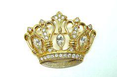 KJL Crown Brooch  Vintage Kenneth J Lane Avon by thejewelseeker, $39.00