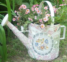 shabby chic  watering  sprinkle planter by mudpudlesndandylines, $175.00