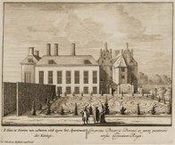 't Huis te Dieren<br />± 1700<br />achterzijde met het woongedeelte van de Koning Willem III<br />kopergravure: Pieter Schenk<br…
