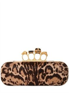 Alexander McQueen - Leopard Printed Pony Knuckle Box Clutch  #15Things #fashion #style #trending #mcqueen #clutch #leopard #rooftopparty