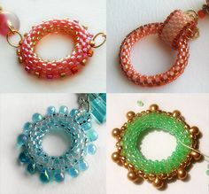 Beaded circles- use as components, clasps or hooked together.  Make the basic circle and embellish as shown or with crystals, pearls, etc. (Translate) #seed #bead #tutorial