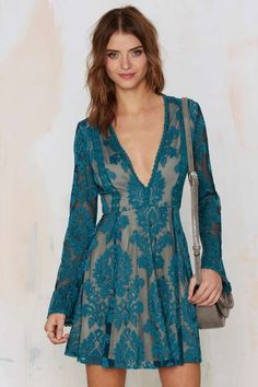 Romantics Lace Dress - Teal - Dresses