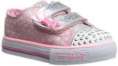 Skechers Kids Shuffles Light-Up Sneaker (Toddler/Little Kid),Pink/Silver,5 M US Toddler