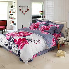 Duvet Cover,4-Piece Modern Style Noble Floral Jacquard | Quick Click Deals Powered by TripleClicks