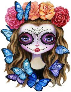 Sugar Skull Gil with Flower Crown and Butterflies Art Print by Denise Ferragamo Art - X-Small Sugar Skull Artwork, Sugar Skulls, Frida Art, Skull Illustration, Aztec Art, Skull Wallpaper, Beautiful Fantasy Art, Butterfly Art, Kawaii Art