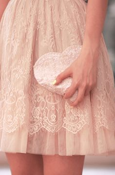 Love the color, the lace and the heart shaped bag! Mode Rose, Pearl And Lace, Linens And Lace, Everything Pink, Girly Girl, Pretty Outfits, Dress To Impress, Lace Skirt, Blush Skirt