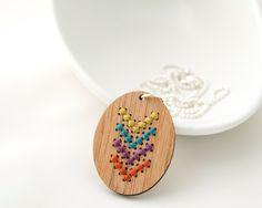 Modern Cross Stitch Kit - Bamboo Pendant with Multicolor Chevron Pattern. $14.00, via Etsy.