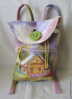 Купить рюкзак с домиком - разноцветный, рисунок, рюкзак, рюкзак валяный, сумка валяная, домики