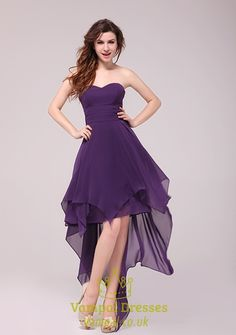 Purple Strapless High Low Cocktail Dress Formal Gown,Short Purple Sweetheart Neckline Dress | Vampal Dresses