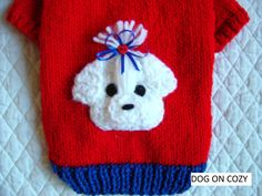 Appliqued Dog Sweater Full Length Hand Knit Pet Sweater Size
