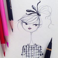 """""""Messy hair warmup #sketch #blackwingpencil #ribbon #hair @kuretakezig_usa"""""""