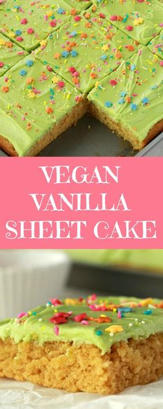 Light, fluffy and deliciously spongey vanilla sheet cake with a velvety frosting and lots of sprinkles! This is the perfect cake to feed a crowd with at least 15 serves, it's fabulously good and it's vegan too! | lovingitvegan.com