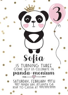 These Panda Birthday Party Invitations and Decorations in black white, pink and gold feature EVERYTHING you could want for your little girls birthday! This is my MOST comprehensive collection to date! Im excited for you to see it all!   Perfect for a Girls 1st birthday, 2nd