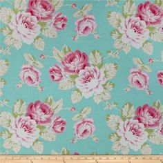 Tanya Whelan Sunshine Roses Full Bloom Roses Blue from @fabricdotcom  Designed by Tanya Whelan for Free Spirit, this cotton fabric is perfect for quilting, apparel and home decor accents. Colors include blue, green, pink and white.