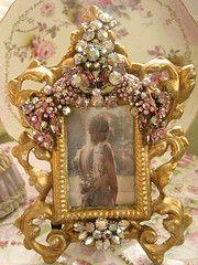 Exquisite Gold and Lavendar Vintage jeweled Frame