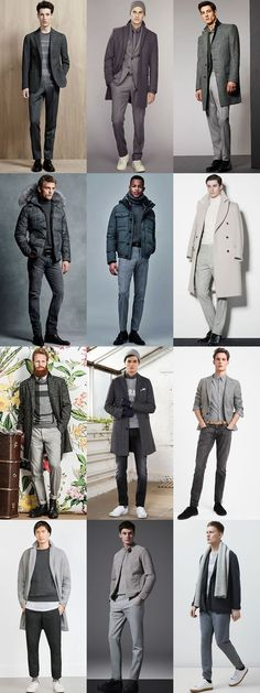 Men's Colour Combination For Autumn/Winter 2015: All-Grey Outfit Examples Lookbook