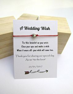 A Wedding Wish Thank You For Sharing Our Special Day Wedding Favor Wish Bracelet Wedding Thank